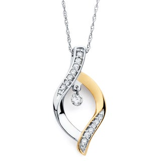 Boston Bay Diamonds 14k Two-tone Gold 1/6ct TDW Floating Diamond Necklace (H-I, I1-I2)