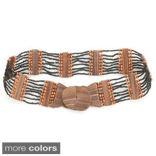 1 World Sarongs Women's Eight Row Beaded Belt and Wooden Hook Buckle (Indonesia)