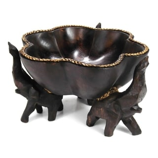 Handmade 6-inch Triumphant Elephants Carved Rain Tree Wooden Bowl (Thailand)