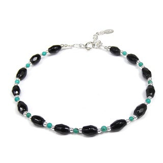 Onyx and Turquoise Link Thai Karen Tribe Silver Bracelet (Thailand)