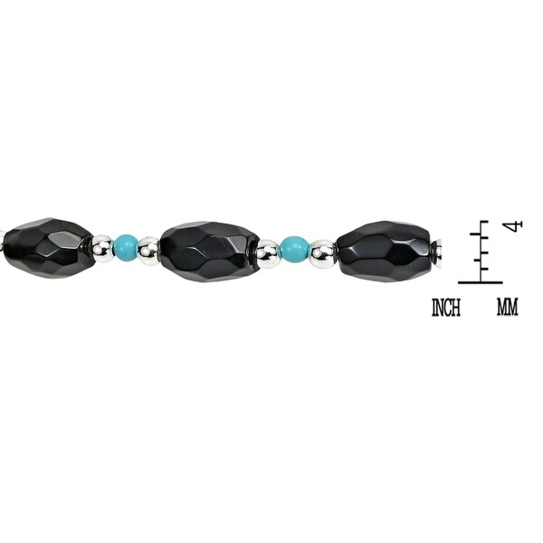 Handmade Onyx and Turquoise Link Thai Karen Tribe Silver Bracelet (Thailand)