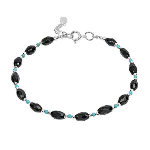 Handmade Onyx and Turquoise Link Thai Karen Tribe Silver Bracelet (Thailand). Opens flyout.