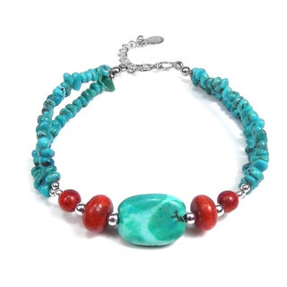 Handmade Thai Karen Silver Turquoise Coral Nuggets Bracelet (Thailand)