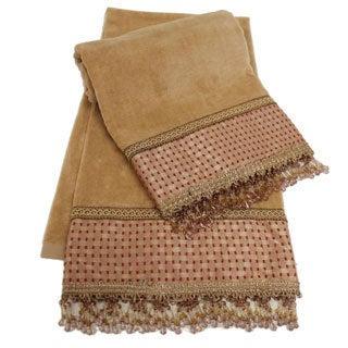 Sherry Kline Chenille Dots Gold Embellished Bath Towel (set of 2)