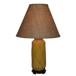 Crown Lighting 1-light Yellow Crackle Ceramic Table Lamp