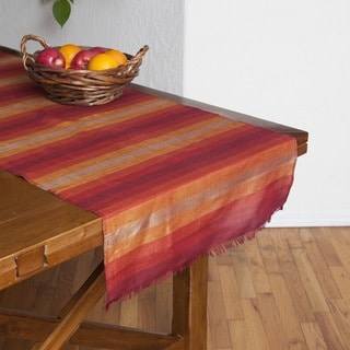 Handmade Hand-loomed Sunset Stripe Table Runner (Morocco)