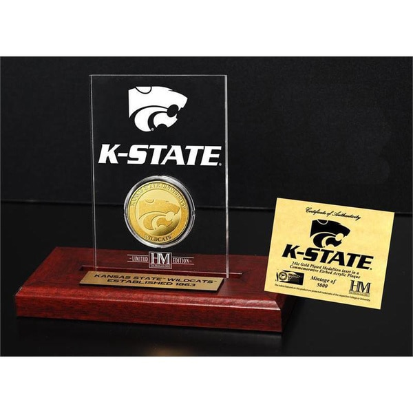 Kansas State University Gold Coin Etched Acrylic