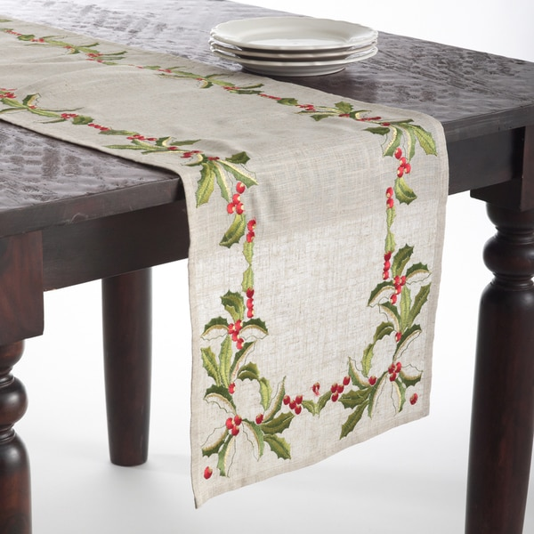 Embroidered Holly Design Holiday Linen Blend Table Runners - Free Shipping On Orders Over $45 ...