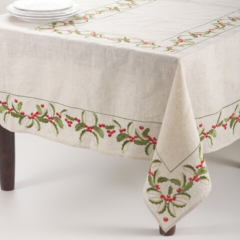 Embroidered Holly Design Holiday Linen Blend Table Runners