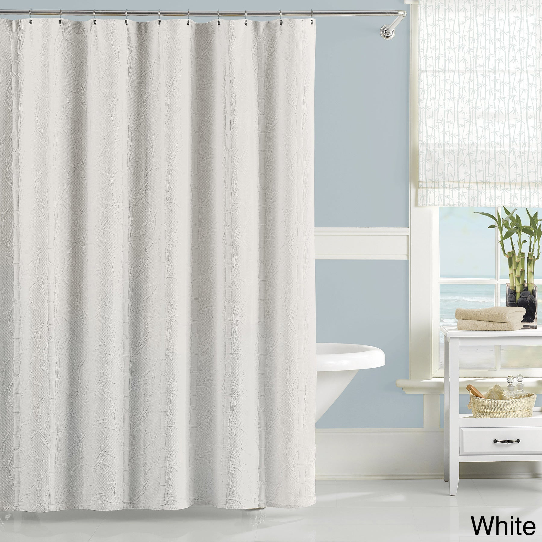 Luxury Matelasse Nepal Bamboo Pattern Shower Curtain (Whi...