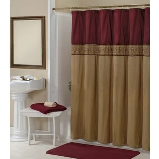 Addison Gold and Maroon Embroidered Shower Curtain