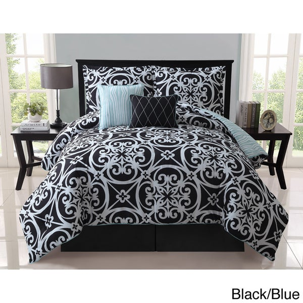 VCNY Kennedy 5-piece Reversible Black Comforter Set