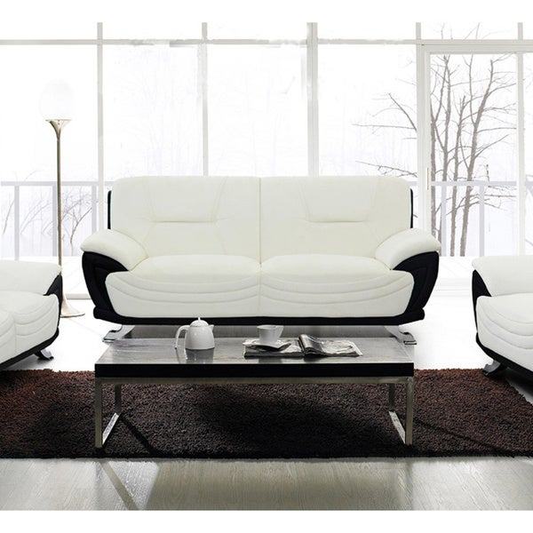 Shop Alicia White Black Faux Leather Modern Sofa Free