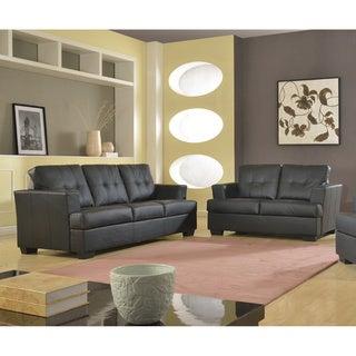 Nova 2-piece Black Bonded Leather Modern Sofa and Loveseat