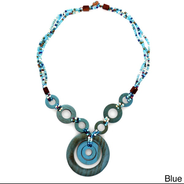 1 World Sarongs Women's Triple Bead Strand Necklace and Triple Round Wooden Pendant (Indonesia)
