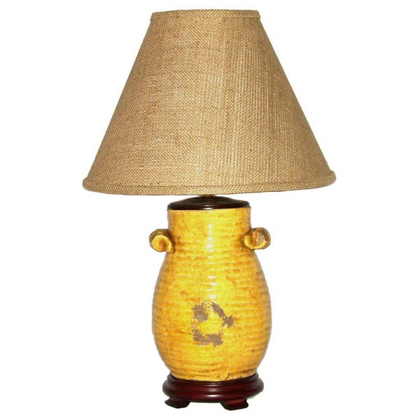 Crown Lighting 1-light Honey Mustard Pot Table Lamp