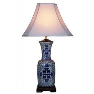 Blue and White Symbol 1-light Porcelain Table Lamp
