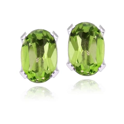 Glitzy Rocks Sterling Silver Peridot Oval Stud Earrings