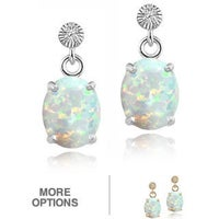Glitzy Rocks Sterling Silver Or Gold Over Created Opal And Cubic Zirconia Oval Earrings