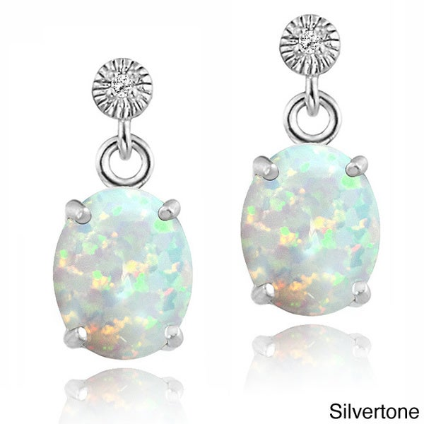 Glitzy Rocks Sterling Silver or Gold over Silver Created Opal and Cubic Zirconia Oval Earrings
