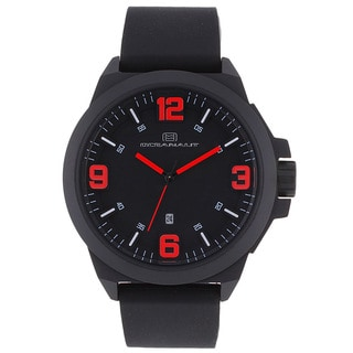 Oceanaut Men's OC7113 Black Pilot Watch with Red Luminous Hands