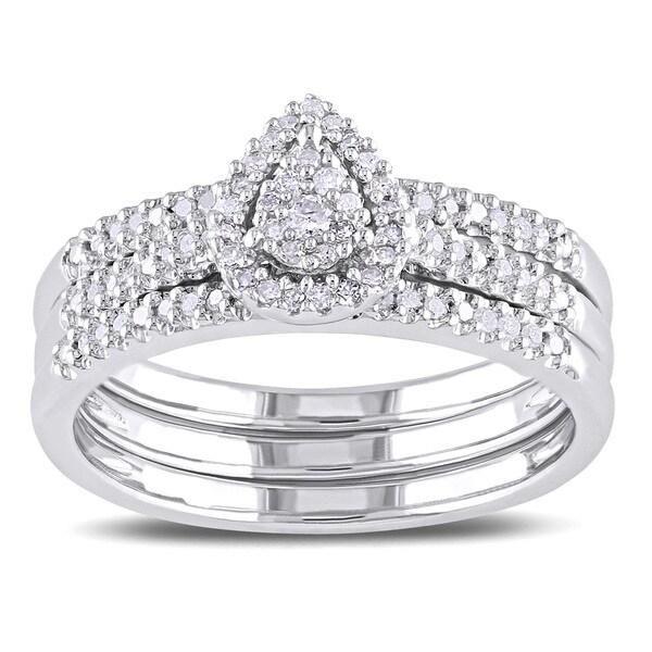 Miadora Sterling Silver 1/4ct TDW Diamond Cluster Teardrop Halo Engagement Ring 3-piece Bridal Set