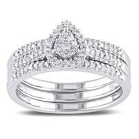 Miadora Sterling Silver 1/4ct TDW Diamond Teardrop Halo Engagement Ring 3-piece Bridal Set