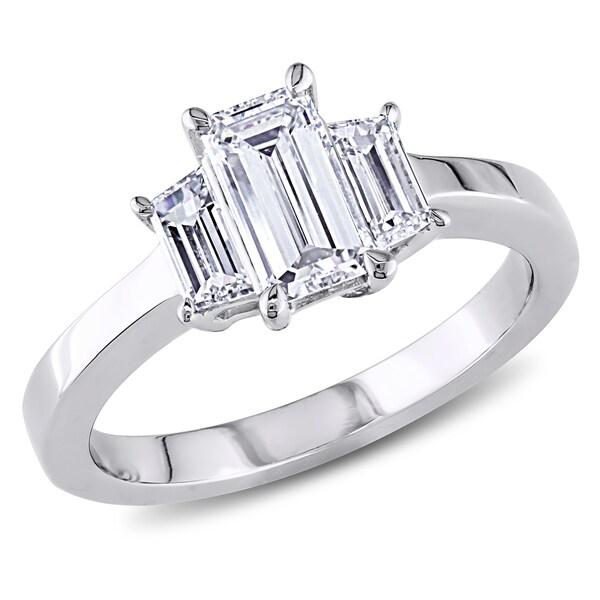 Miadora 18k Gold 1ct TDW Emerald-cut Three-stone Diamond Ring (D-E, SI1-SI2)