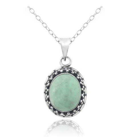 Sterling Silver Jade Oval Necklace