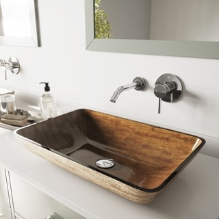 VIGO Rectangular 'Amber Sunset' Glass Vessel Sink and Wall Mount Faucet Set