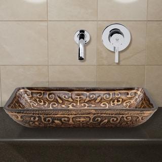 VIGO VigoRectangular Golden Greek Glass Vessel Sink and Wall Mount Faucet in Chrome
