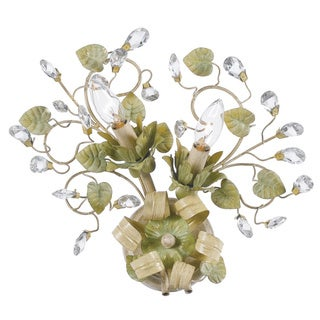Crystorama Josie Collection 2-light Champagne/ Green Tea Wall Sconce