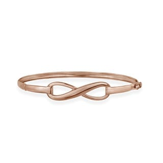 Mondevio Rose Gold over Silver Infinity Design Bangle Bracelet