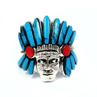 Handmade Native American Indian Blue Turquoise .925 Silver Ring (Thailand)
