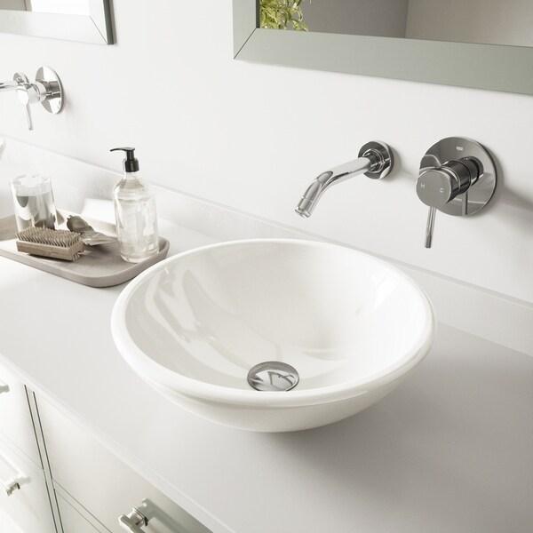 VIGO Elizabeth Phoenix Stone Bathroom Sink and Olus Wall Mount Faucet
