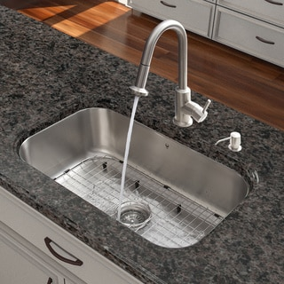 VIGO All-in-One 30-inch Stainless Steel Undermount Kitchen Sink and Astor Stainless Steel Faucet Set