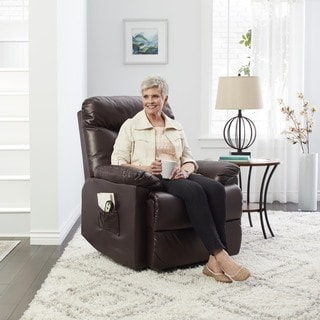 ProLounger Lya Brown Leather Power Recline and Lift Wall Hugger Chair