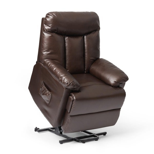ProLounger Lya Brown Leather Power Recline and Lift Wall Hugger Chair - Free Shipping Today - Overstock.com - 15746816  sc 1 st  Overstock.com & ProLounger Lya Brown Leather Power Recline and Lift Wall Hugger ... islam-shia.org