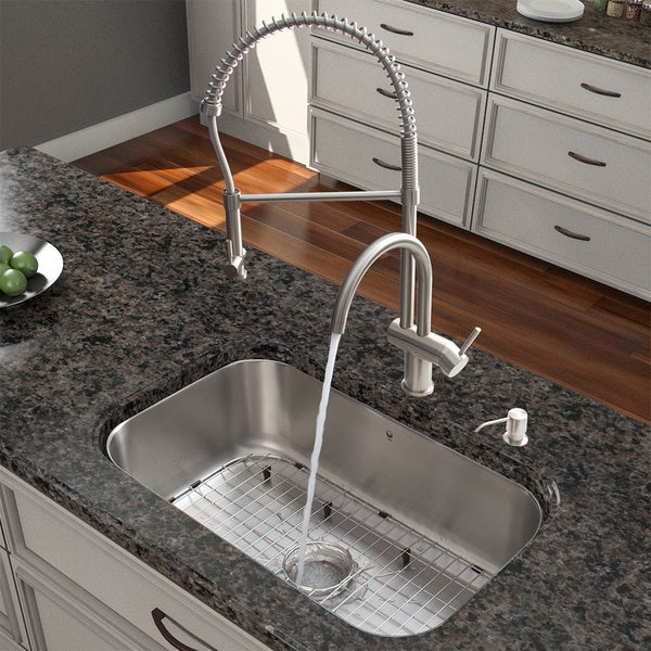 VIGO All-in-One 30-inch Stainless Steel Undermount Kitchen Sink and Dresden Stainless Steel Faucet Set
