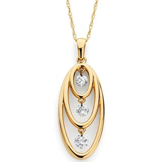 Boston Bay Diamonds 14k Yellow Gold 1/4ct TDW Floating Diamond Open Necklace (H-I, I1-I2)