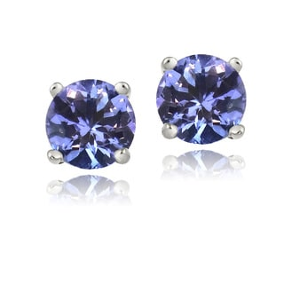 Icz Stonez Sterling Silver 6mm Blue Cubic Zirconia Stud Earrings