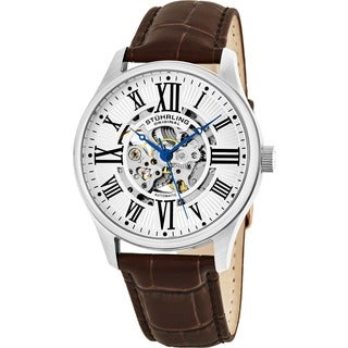 leather men s watches shop the best deals for 2017 stuhrling original men s atrium automatic watch brown leather strap