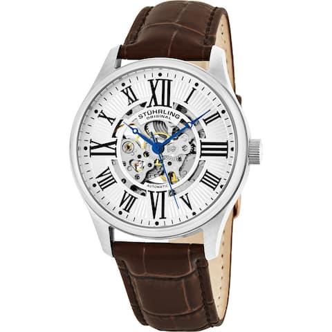Stuhrling Original Men's Atrium Automatic Watch with Brown Leather Strap