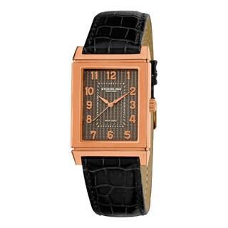 Stuhrling Original Men's Skyline Swiss Quartz Black Leather Strap Watch