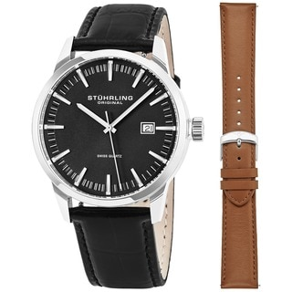 Stuhrling Original Men's Ascot 42 Watch Set Swiss Quartz Interchangeable Strap Watch
