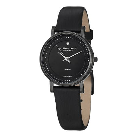 Stuhrling Original Women's 'Lady Casatorra' Swiss Quartz Black-leather Strap Watch