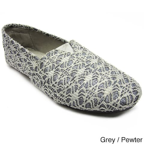 Blue Women's 'Timmy' Glitter Lace Canvas Shoes