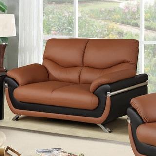 Alicia Orange/Black Faux Leather Modern Loveseat