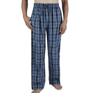 Leisureland Men's Dark Blue Plaid Cotton Poplin Lounge Pants