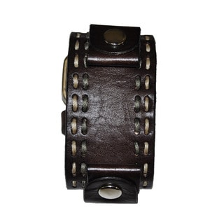 Double Stitch Leather Cuff Brown Band